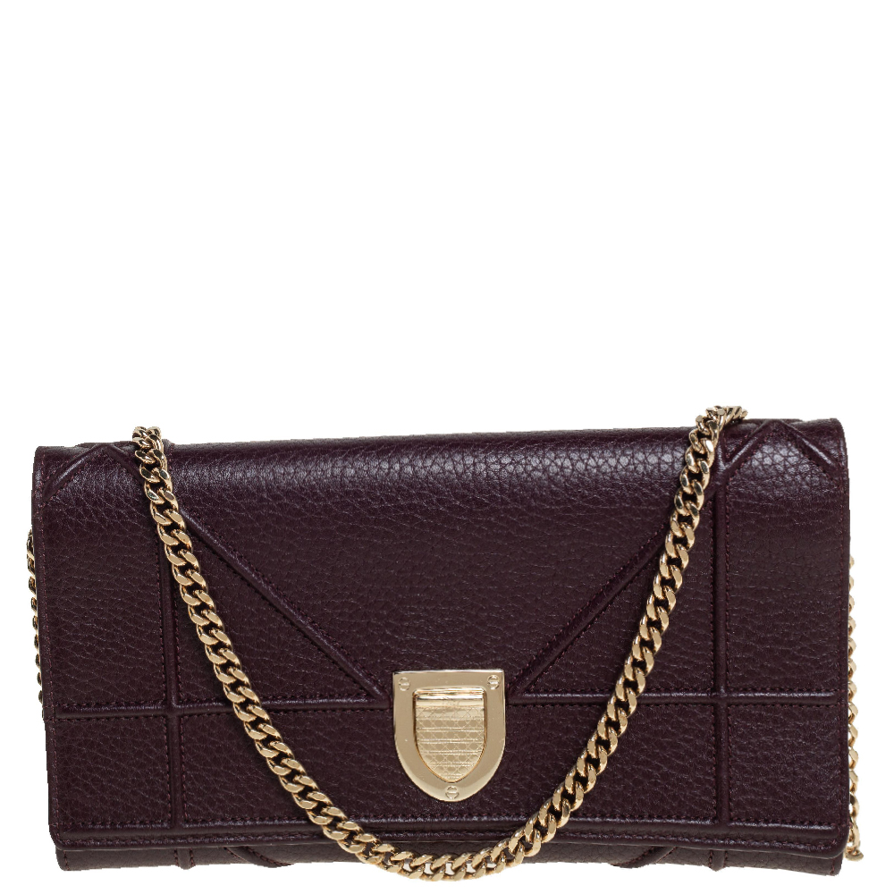 Pre-owned Dior Ama Wallet On Chain In Purple