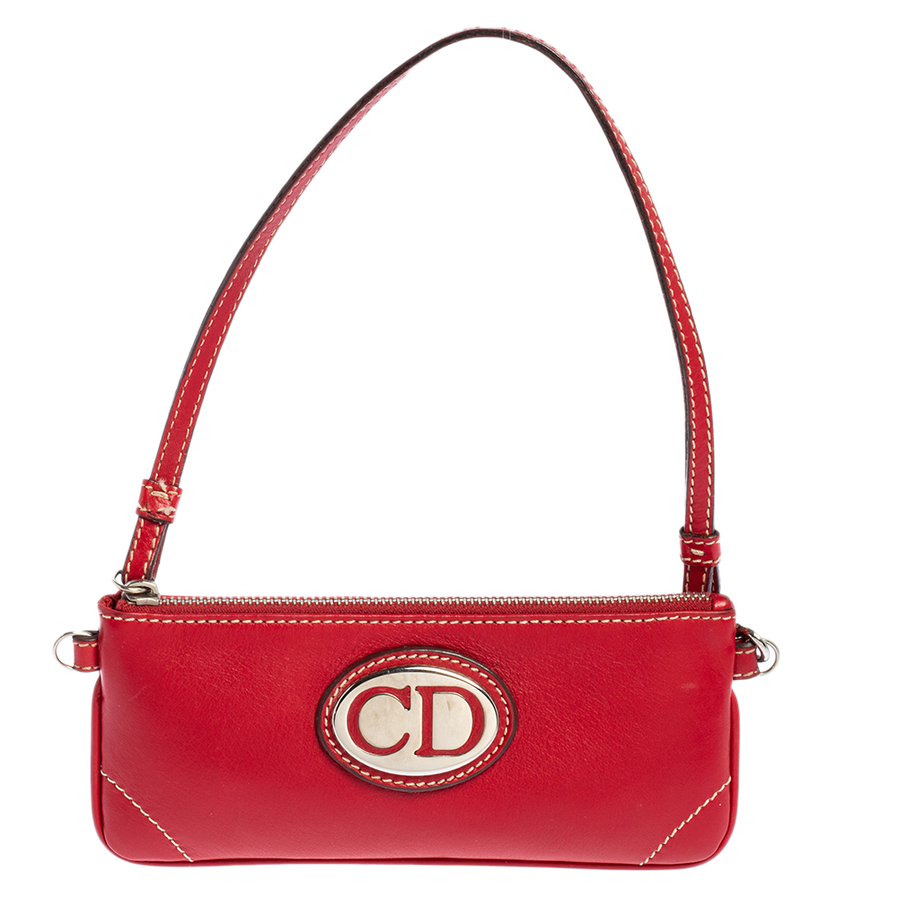 Pre-owned Dior Red Leather Cd Plaque Logo Pochette