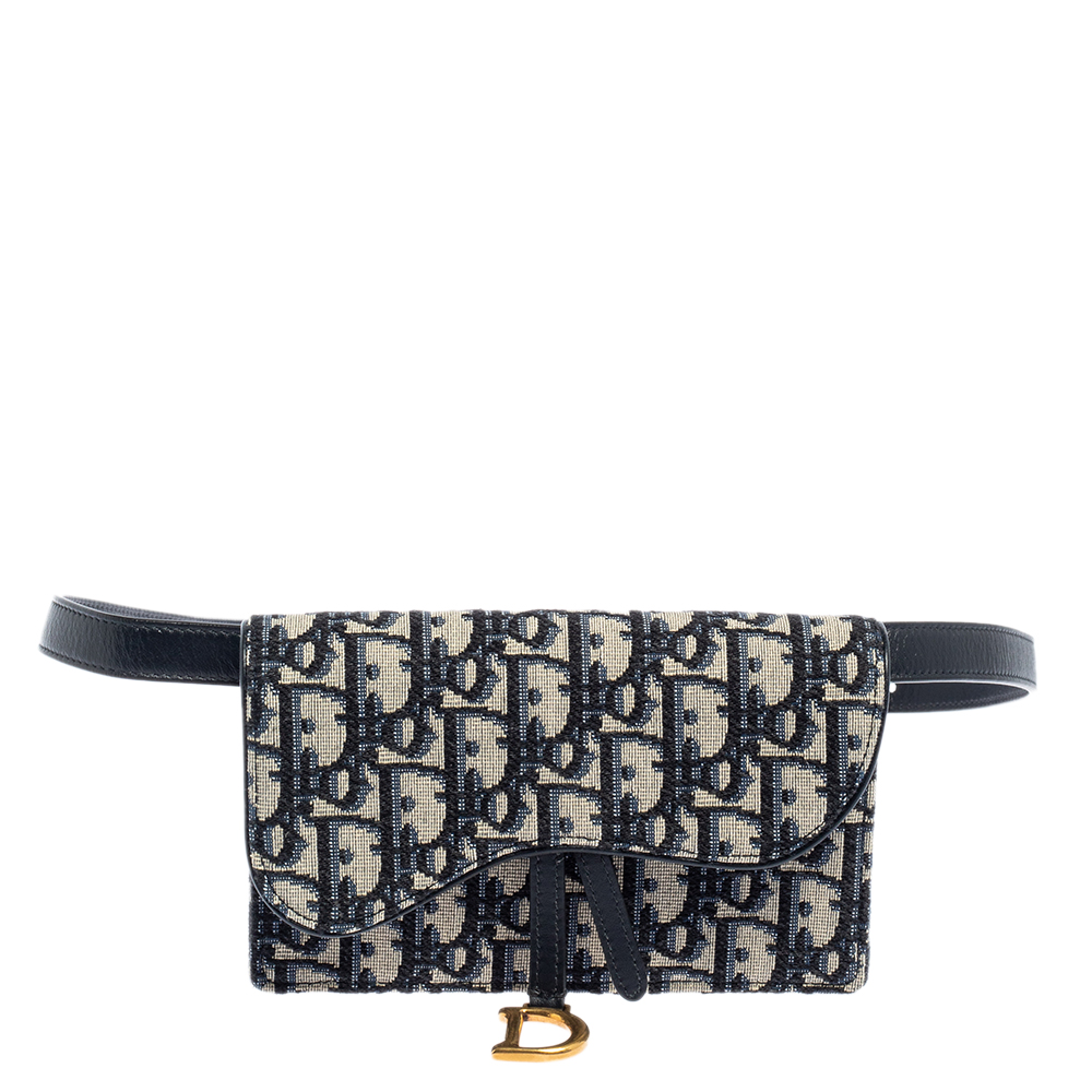 Pre-owned Dior Navy Blue/white Oblique Canvas And Leather Saddle Belt Bag