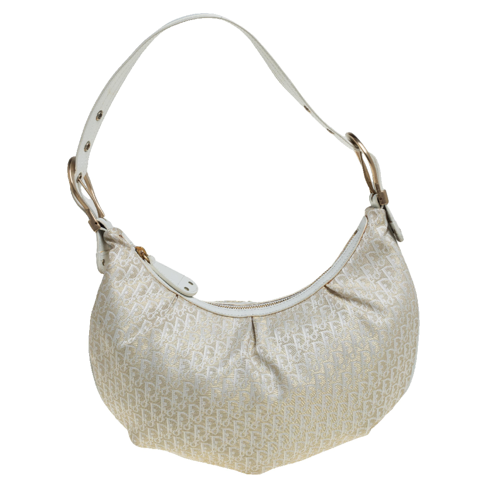 Pre-owned Dior Beige/white Oblique Canvas And Leather Ethnic Hobo