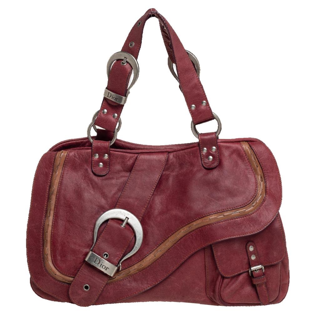 Pre-owned Dior Burgundy Leather Double Saddle Shoulder Bag