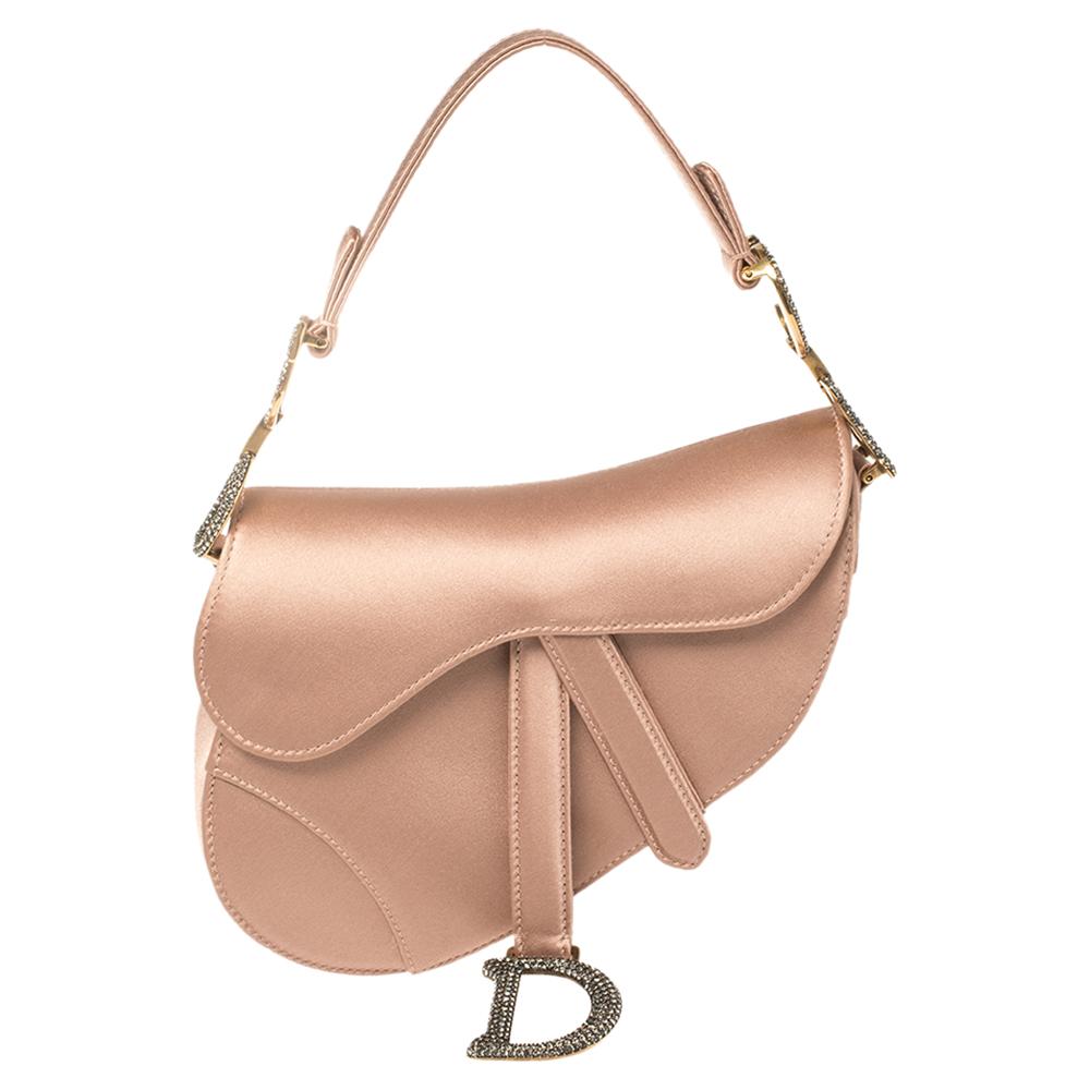 Pre-owned Dior Dusky Pink Satin Mini Saddle Bag