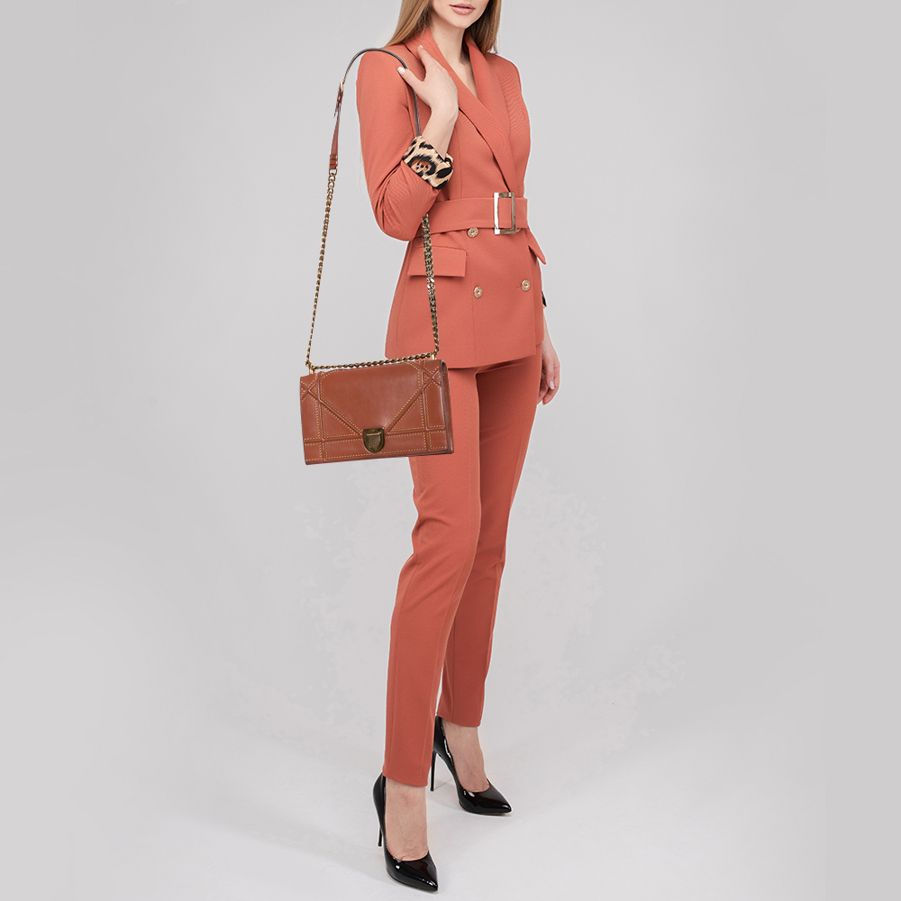 Dior Tan Leather Medium Studded Diorama Flap Shoulder Bag