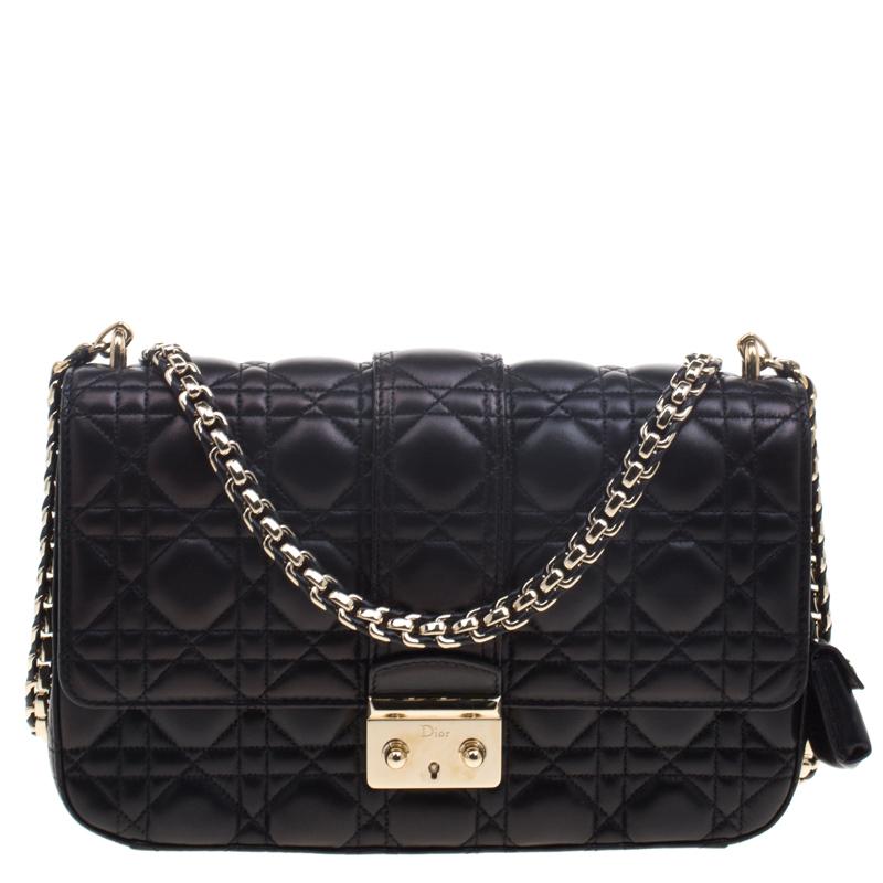7c9c3add0b8e2c Buy Dior Metallic Black Cannage Leather Medium Miss Dior Flap Bag 93872 at  best price | TLC