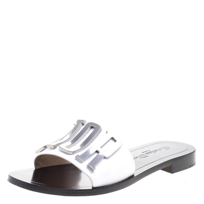 8e59db8c2 Buy Dior White Leather Diorevolution Flat Slides Size 37 101094 at ...