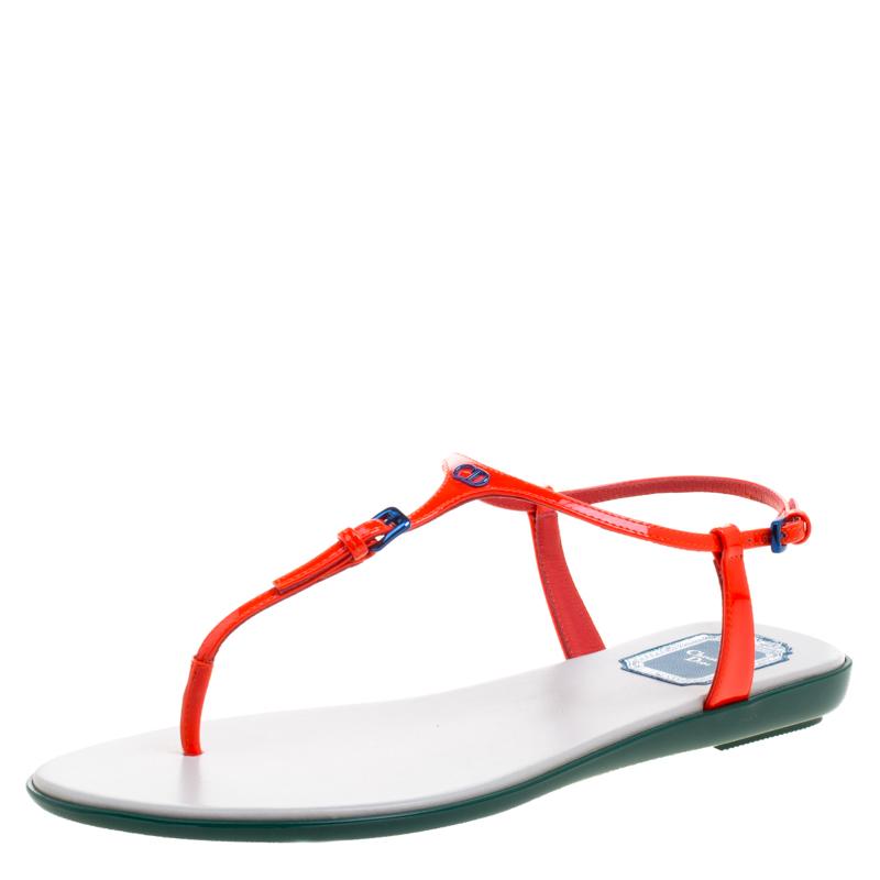 5f15698f2b0 ... Dior Floresent Orange Patent Leather Lagoon Flat Thong Sandals Size 38.  nextprev. prevnext