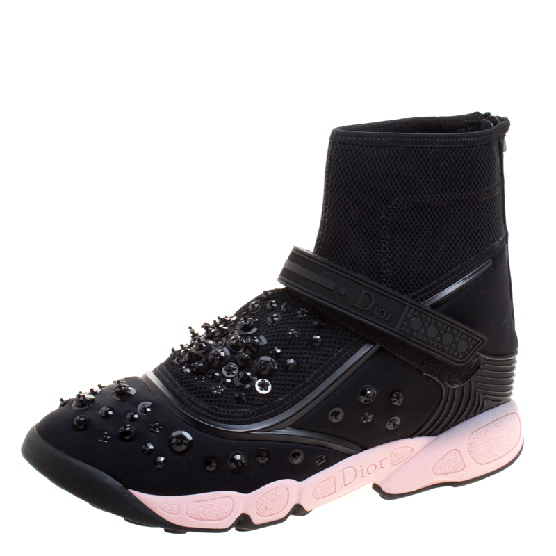 Buy Dior Black Embellished Fabric Techno Fusion High Top Sneakers ... 6a92ef35e5c