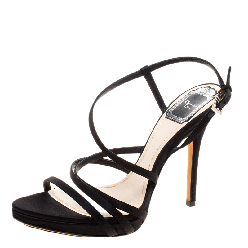 c3847582786 Buy Dior Black Satin Strappy Sandals Size 38 120918 at best price
