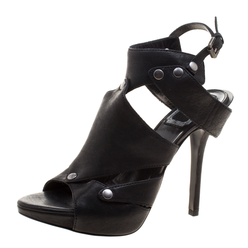 4c3d8b934 Buy Dior Black Leather Cut Out Peep Toe Sandals Size 36.5 122888 at ...