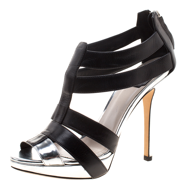 0233741b2b6 Buy Dior Black and Metallic Silver Leather Strappy Platform Sandals ...