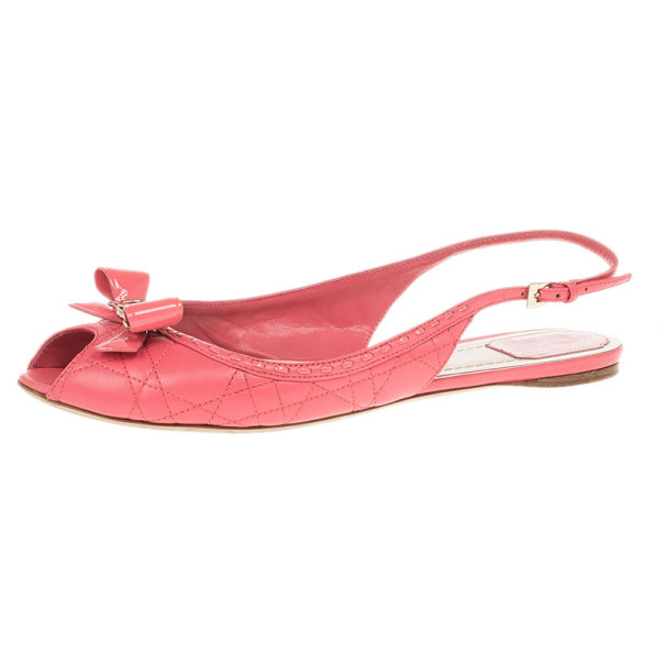 d8f78b7f833021 Buy Dior Coral Cannage Leather Bow Flat Slingback Sandals Size 41 12652 at  best price