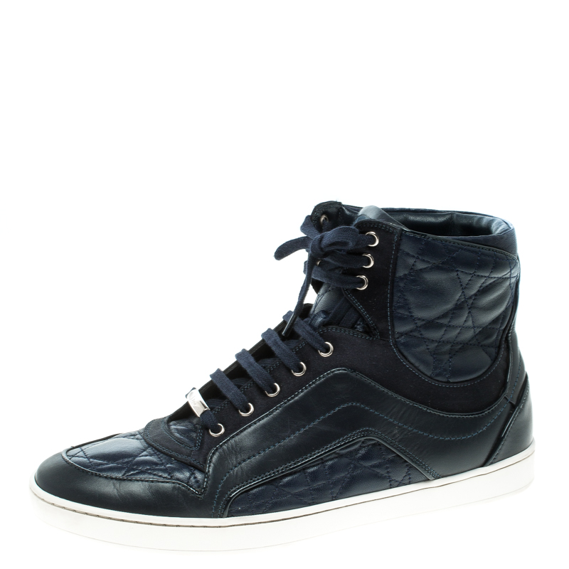Dior Blue Cannage Leather High Top Sneakers Size 38