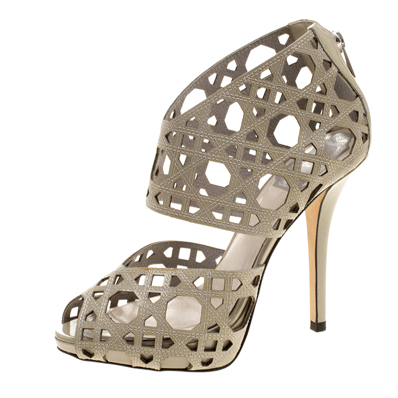 74659a0d09 Buy Dior Khaki Cutout Cannage Leather Miss Dior Caged Sandals Size ...