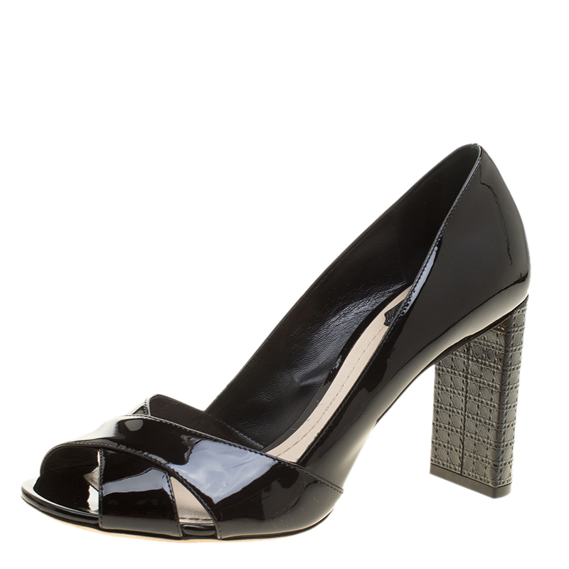 69b920722e3f ... Patent Leather Cross Strap Peep Toe Cannage Heel Pumps Size 38. nextprev.  prevnext