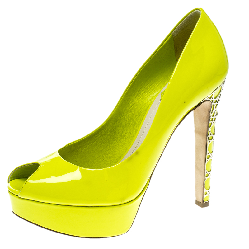 Dior Lime Green Patent Leather Peep Toe
