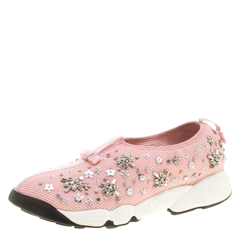 Dior Pink Crystal Embellished Mesh Fusion Slip On Sneakers Size 39