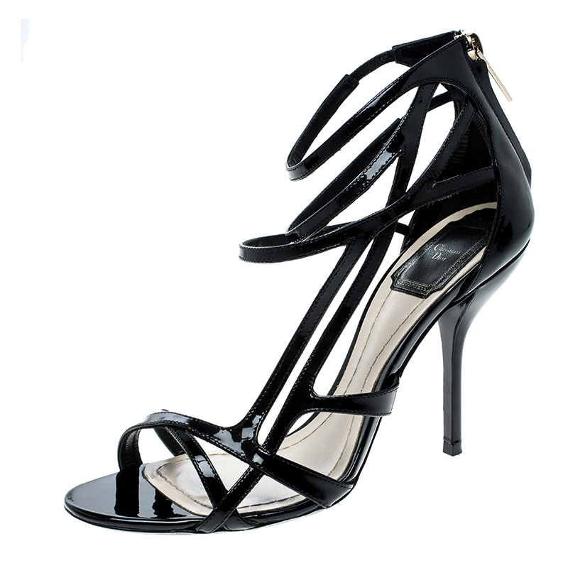 89b4560b1ab Buy Dior Black Patent Leather Strappy Sandals Size 37 142886 at best ...