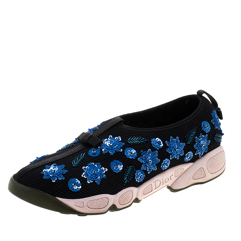 Buy Dior Black Sequins Embellished Mesh Fusion Slip On Sneakers Size ... ed1c62101d6