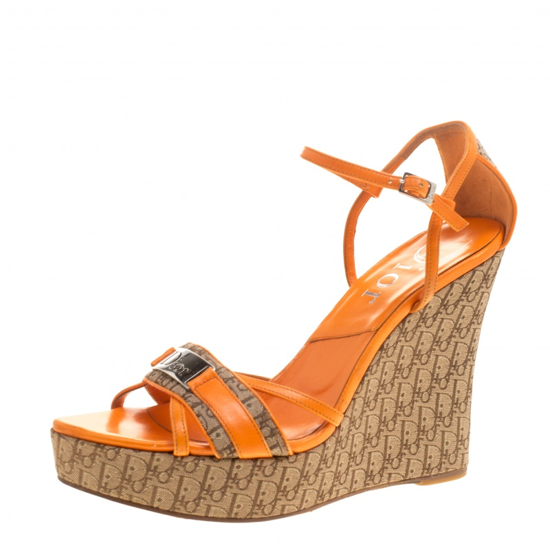 Dior Orange Leather and Canvas Diorissimo Wedge Sandals Size 38