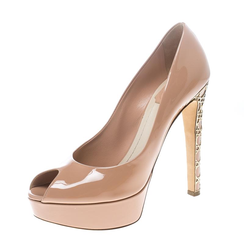 Buy Dior Blush Pink Patent Leather Peep Toe Cannage Heel Platform ...