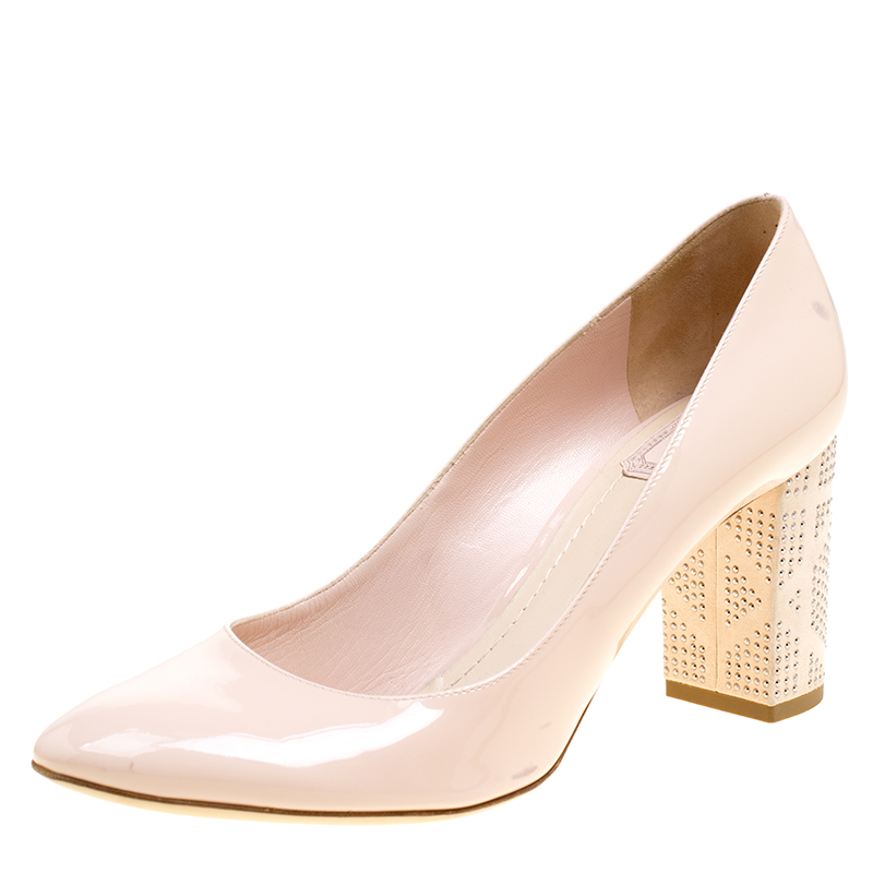 Buy Dior Blush Pink Patent Leather and Suede Block Heel Pumps Size ...
