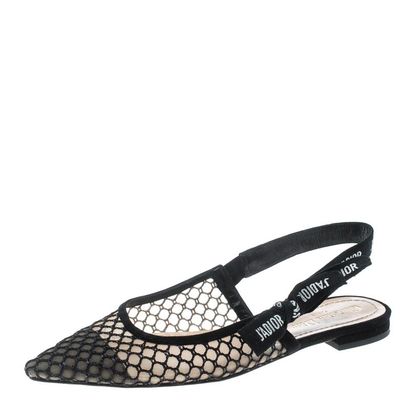 55545d0305b ... Dior Black Mesh J adior Resille Pointed Toe Slingback Flats Size 39.  nextprev. prevnext