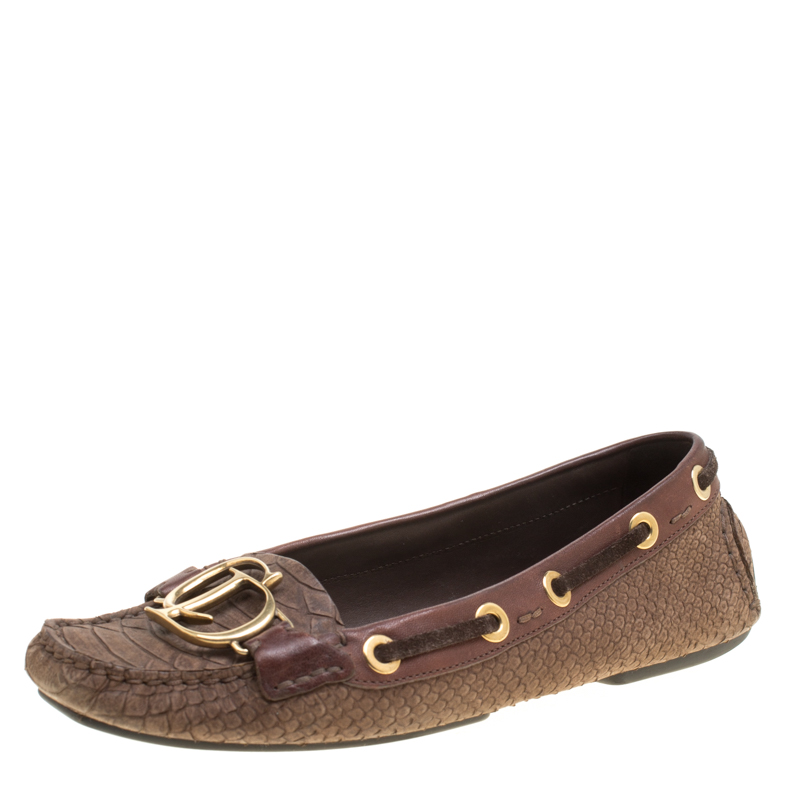 33d4911e96a ... Dior Brown Snake Embossed Suede and Leather CD Boatstitched Loafers  Size 37. nextprev. prevnext