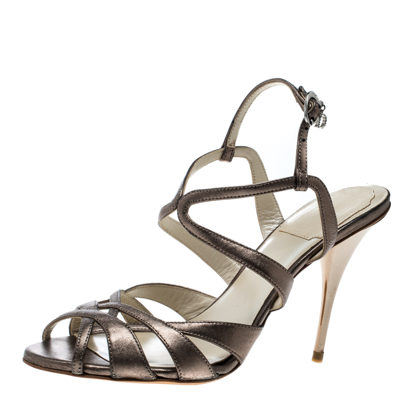 e152923287e Buy Dior Metallic Grey Leather Strappy Sandals Size 36 162569 at ...