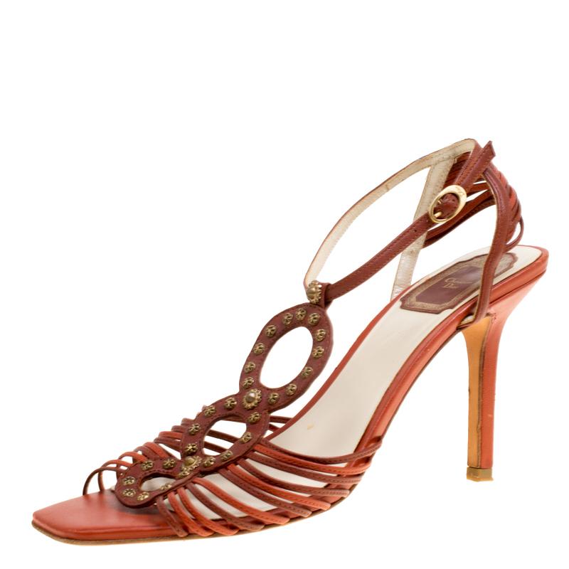 1bf44b9440e ... Dior Brown Leather Studded Ankle Strap Sandals Size 39. nextprev.  prevnext