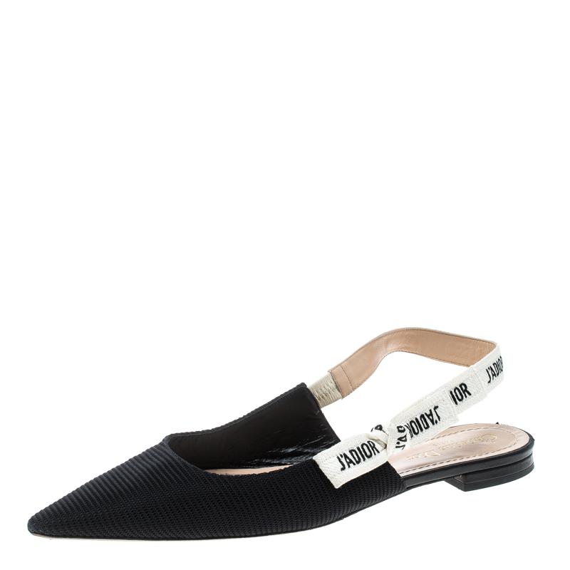 7fefd4c41a9 Buy Dior Black Canvas J adior Ribbon Pointed Toe Slingback Flats ...