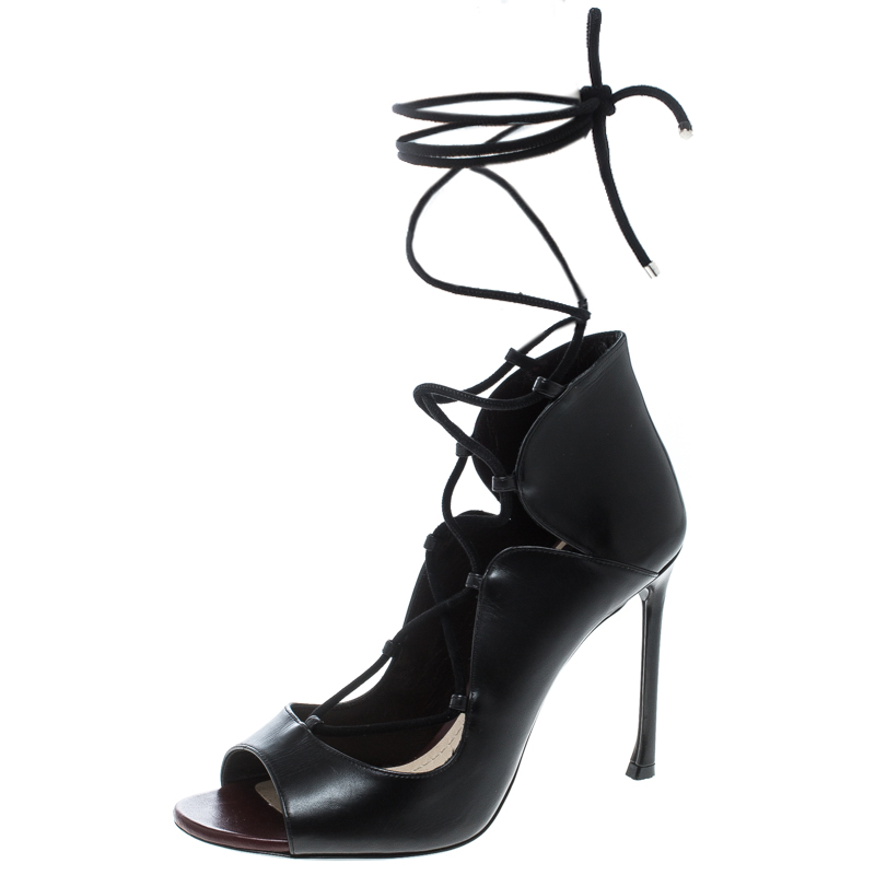 Dior Black Leather Petale Open Toe Lace