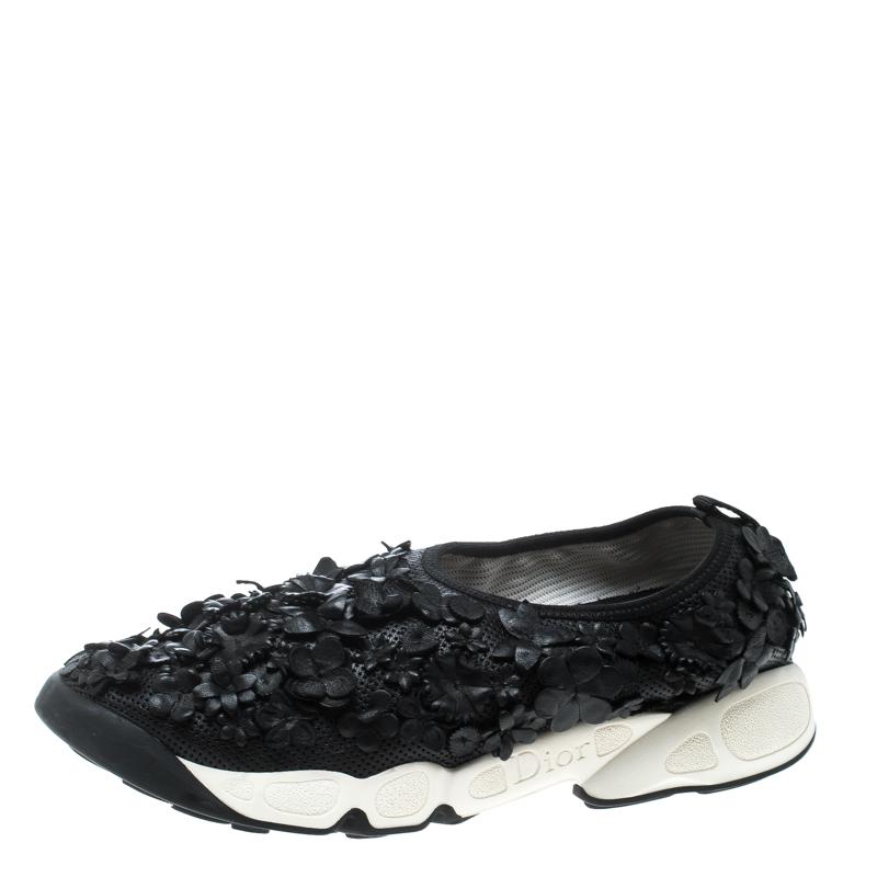 Buy Dior Black Leather Floral Applique Fusion Sneakers Size 38 ... 42a47f9e7fa