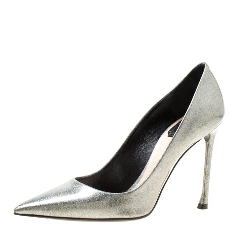 920b33cc749 ... Dior Metallic Silver Patent Leather Pointed Toe Pumps Size 37.  nextprev. prevnext
