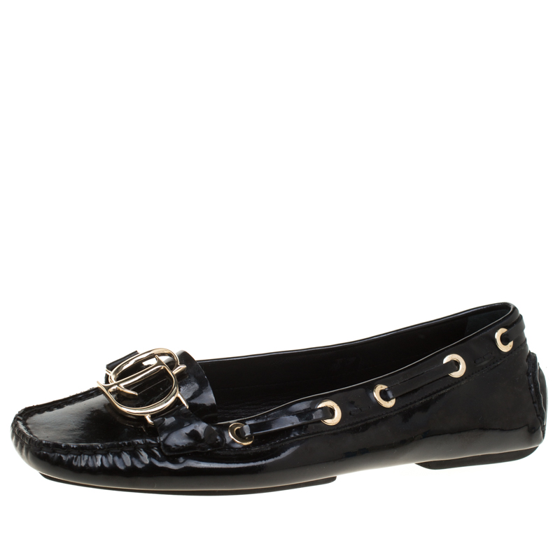 f92d60bf3fc Buy Dior Black Patent Leather CD Loafers Size 38.5 181784 at best price
