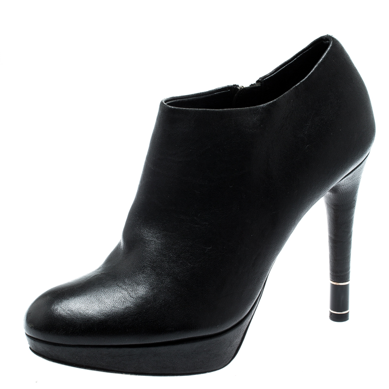 57bb9195 Buy Dior Black Leather Platform Ankle Booties Size 36 192803 ...