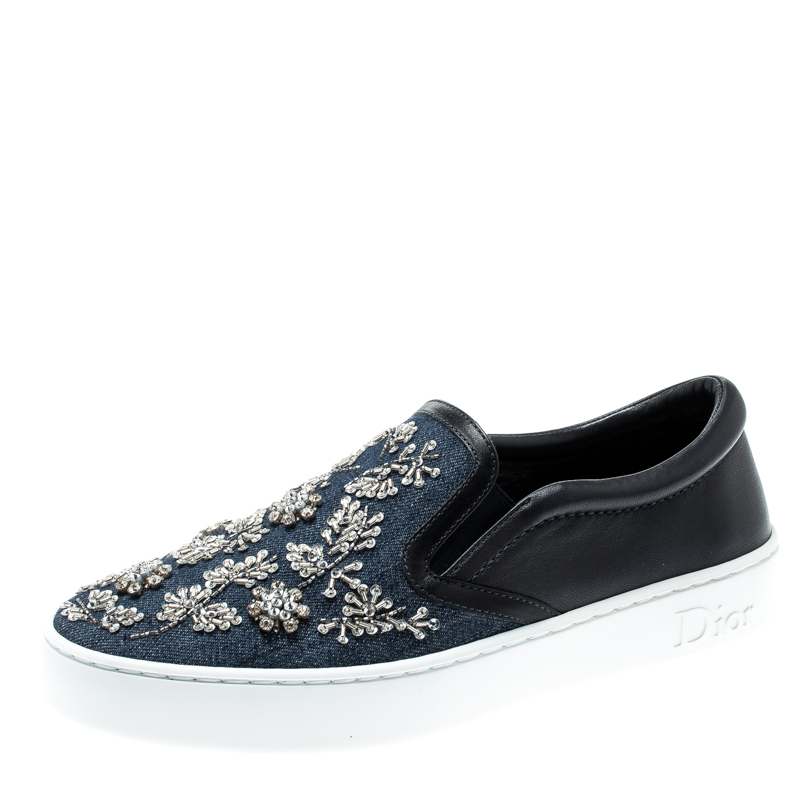 Dior Indigo Crystal Embellished Dark Wash Denim And Leather Happy Slip On Sneakers Size 37.5