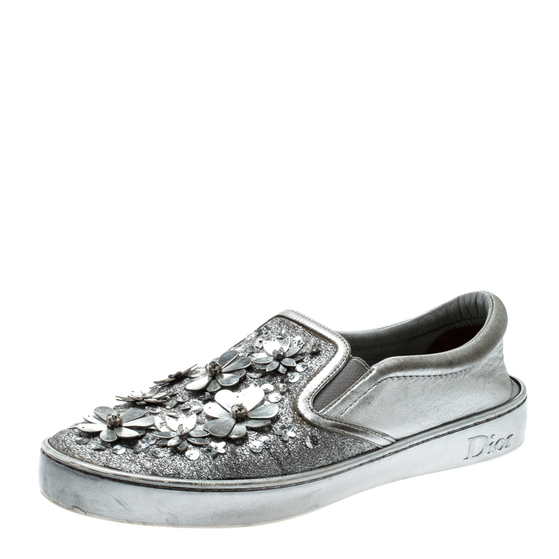 Dior Metallic Silver Glitter Leather