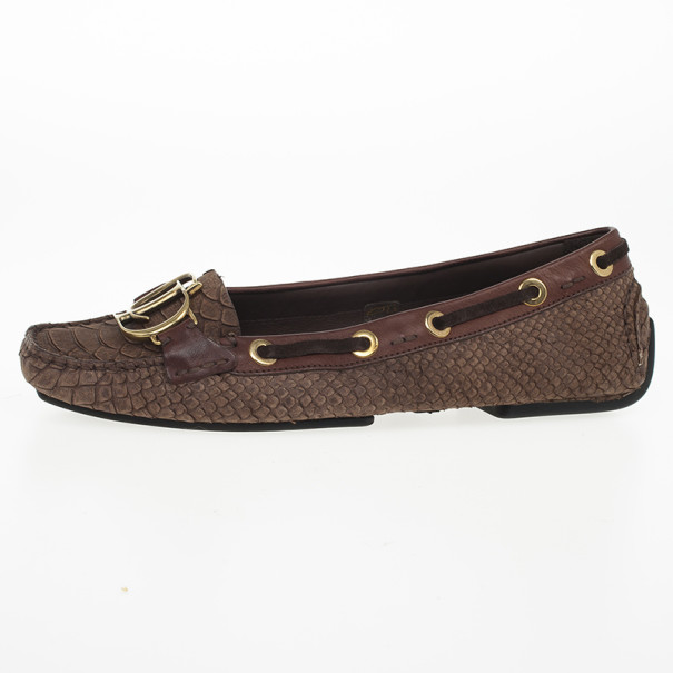 9e649eac082 ... Christian Dior Brown Snake Embossed  CD  Boatstitched Loafers Size 38.  nextprev. prevnext