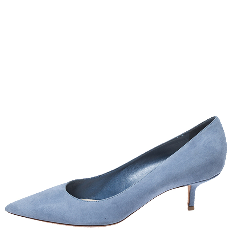 Dior Blue Suede Pointed Toe Kitten Heel