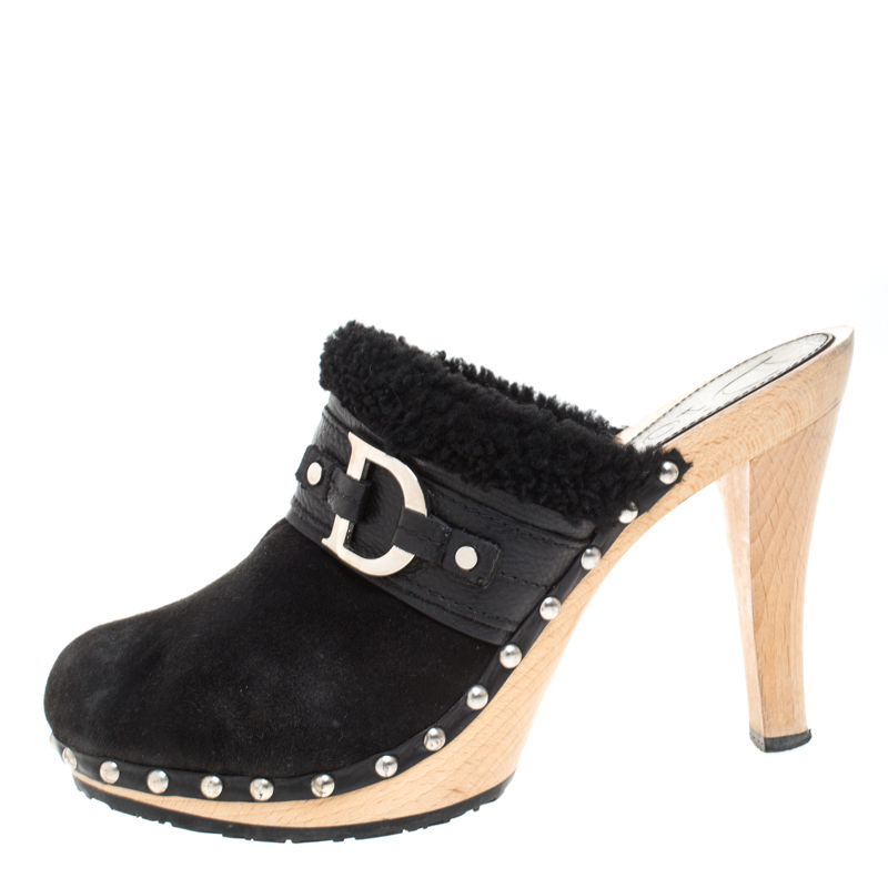 Dior Black Suede and Shearling Logo Buckle Clogs Size 40  - buy with discount