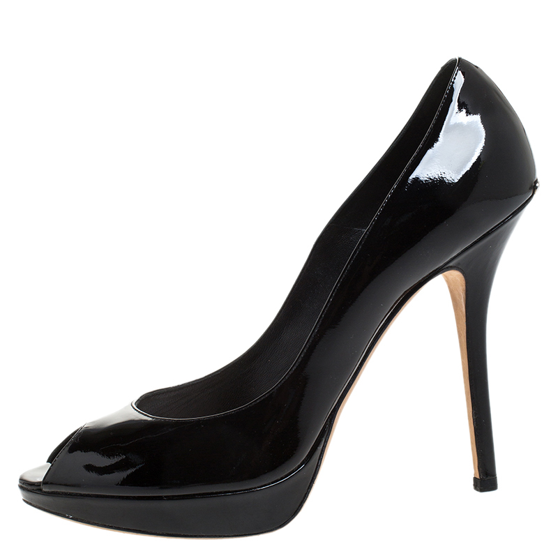 Dior Black Patent Leather Peep Toe Platform Pumps Size 39  - buy with discount