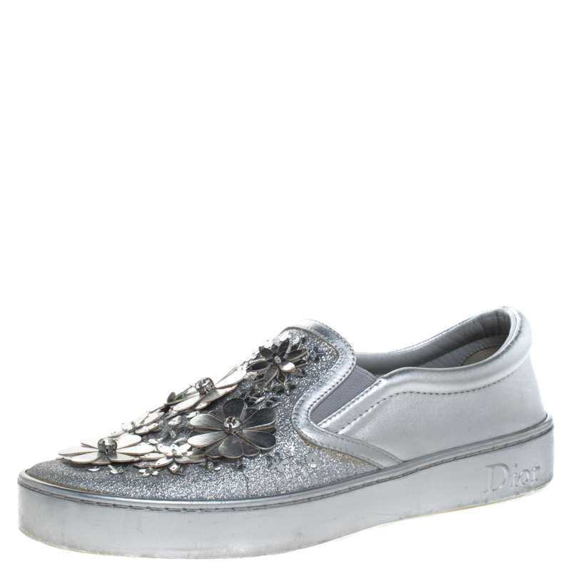 Dior Metallic Silver Glitter Leather Dior Happy Floral Embellished Slip On Sneakers Size 36.5