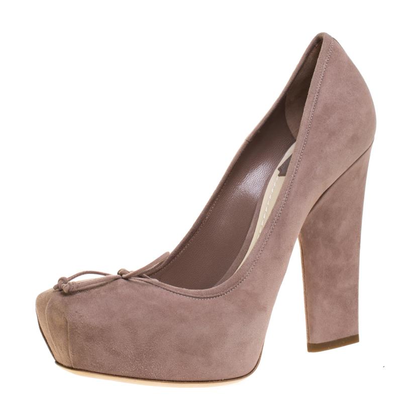 Dior Beige Suede Bow Detail Block Heel Platform Pumps Size 38.5