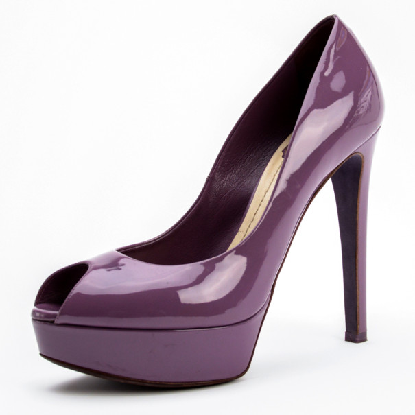 Buy Christian Dior Purple Patent  Miss Dior  Peep Toe Platform Pumps Size  39.5 27805 at best price  eb378d579