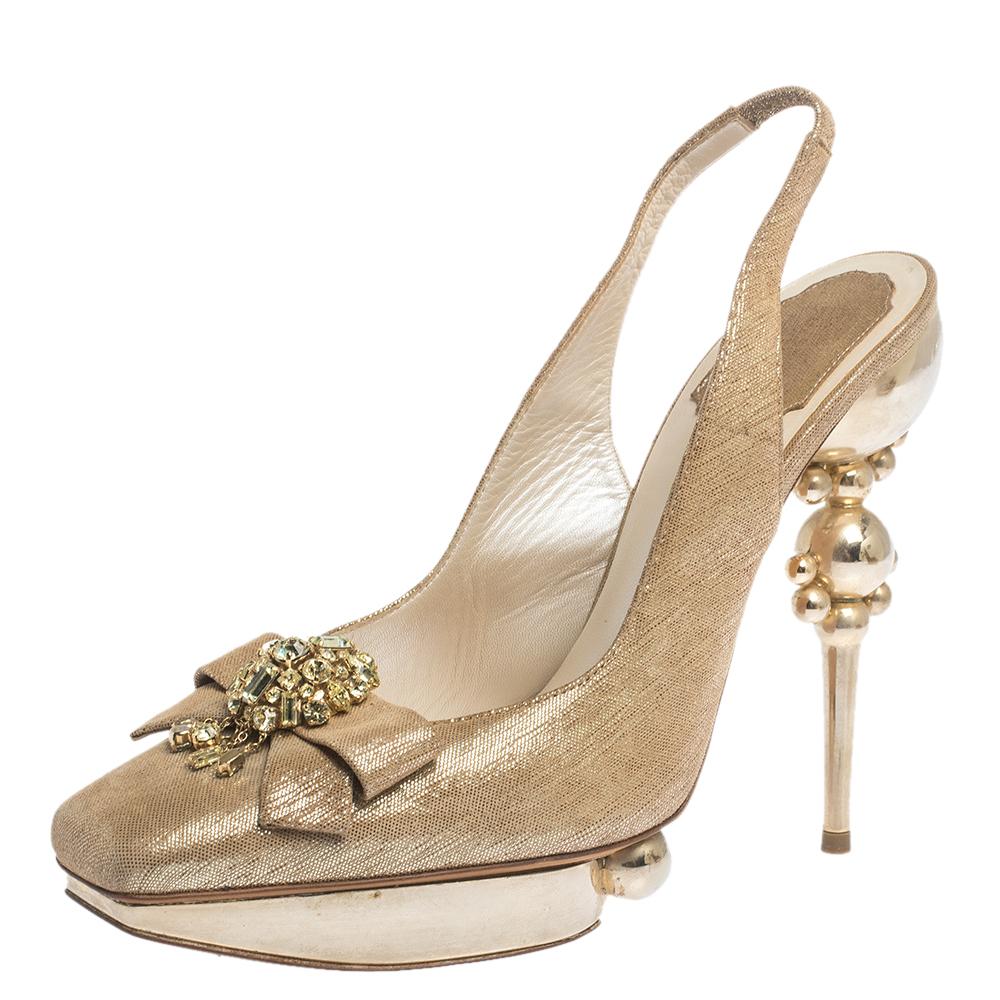 Dior Gold/Beige Nubuck Crystal Embellished Sculpted Heel Slingback Platform Sandals Size 38.5