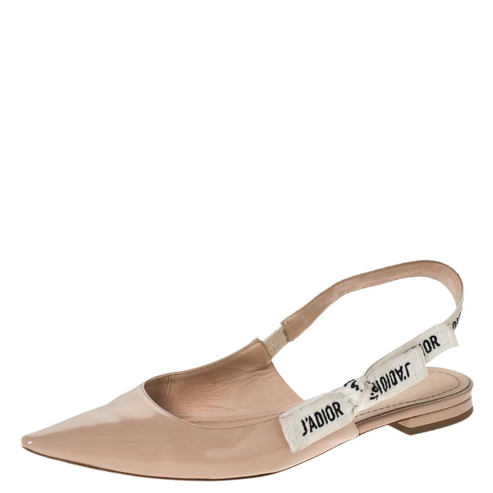 Dior Beige Patent Leather J Adior Slingback Flat Sandals Size 38 5 Dior Tlc