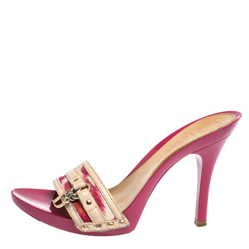 Dior Multicolor Printed Canvas And Leather Peep Toe Clogs Sandals Size 37.5, Pink  - buy with discount