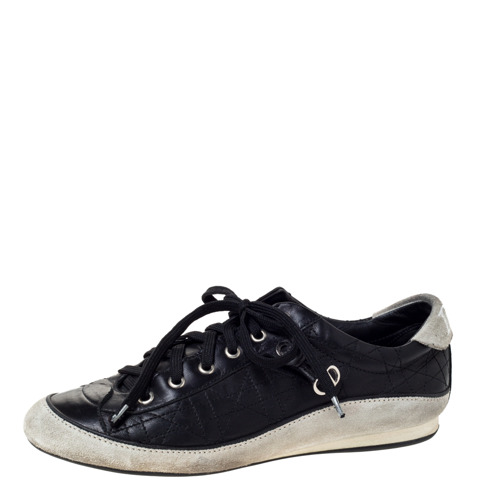 Dior Black/Offwhite Leather and Suede Cannage Lace Up Sneakers Size 39.5