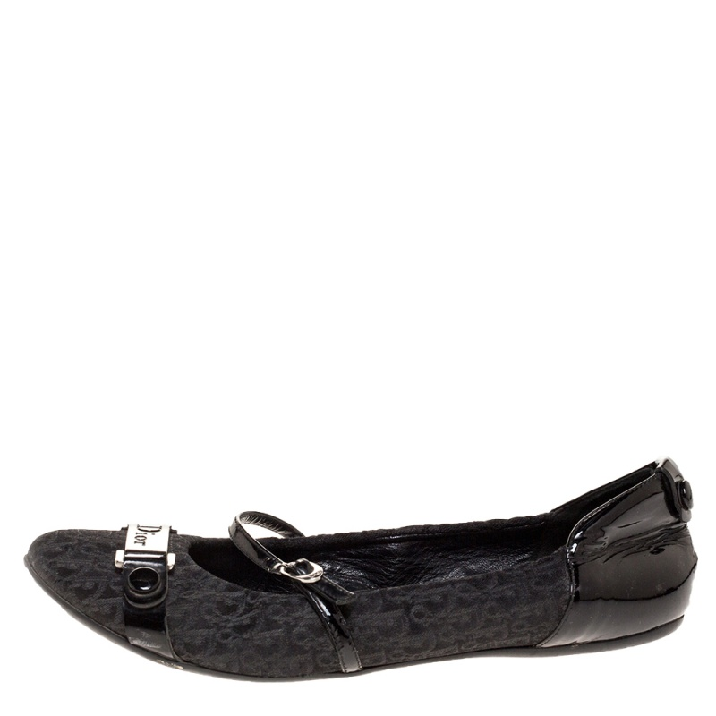 Dior Black Oblique Canvas and Patent Leather Mary Jane Scrunch Ballet Flats Size 38