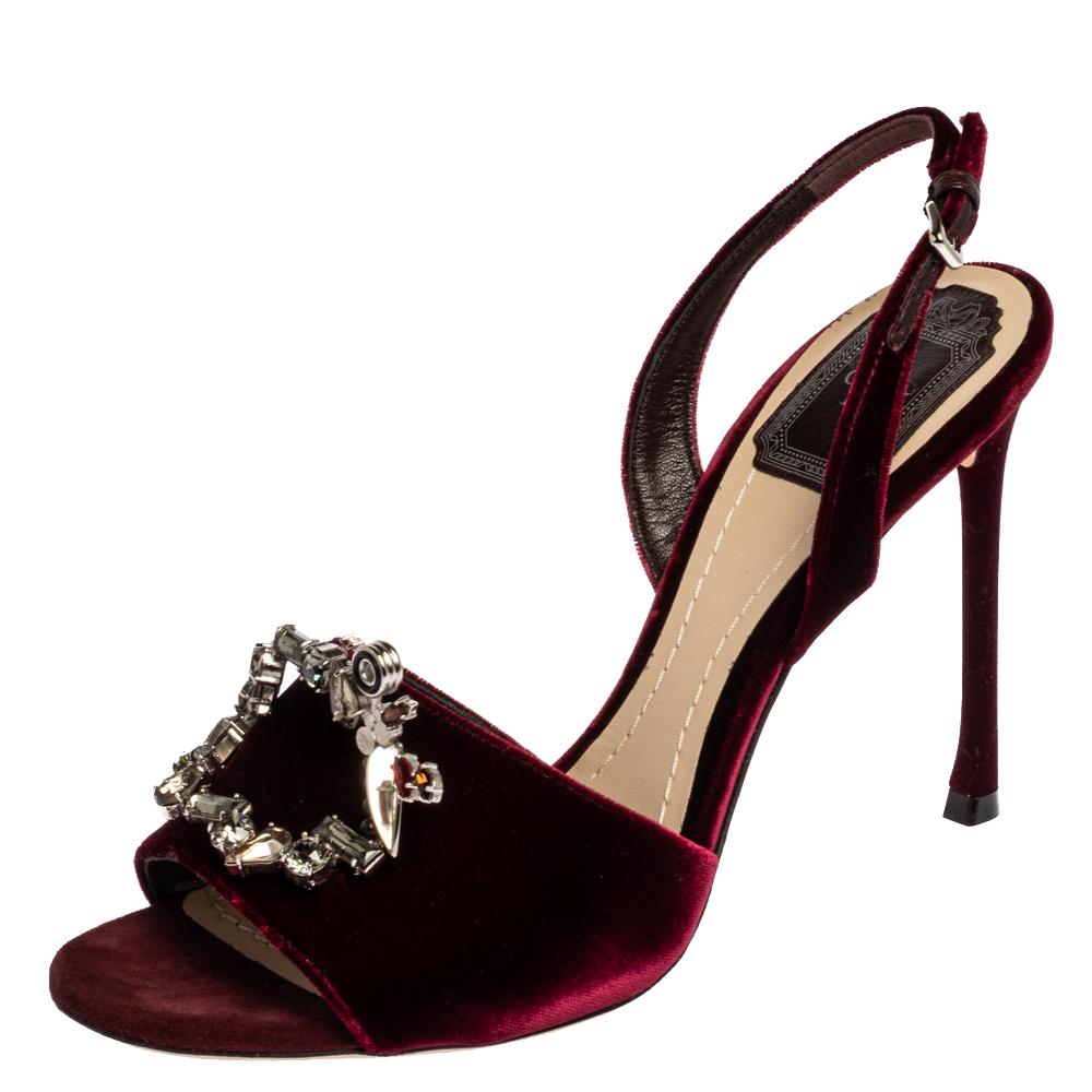 Pre-owned Dior Bordeaux Velvet Tresor Crystal Embellished Open Toe Slingback Sandals Size 38.5 In Burgundy